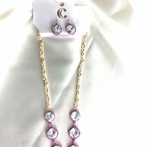NEW‼️CharmingCharlie gold+purple necklace+earrings
